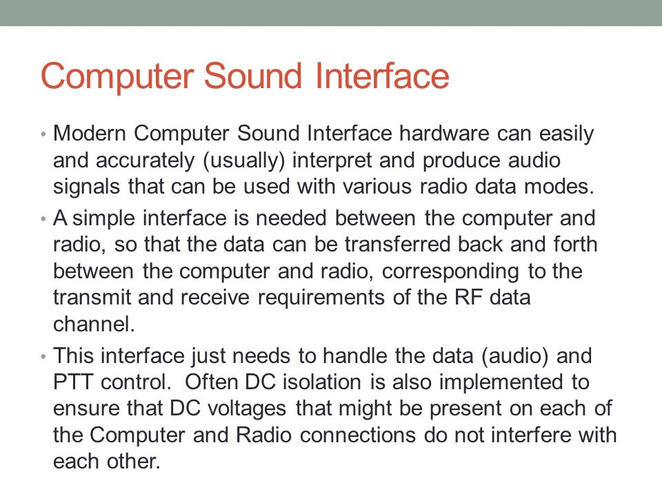 Computer Sound Interface