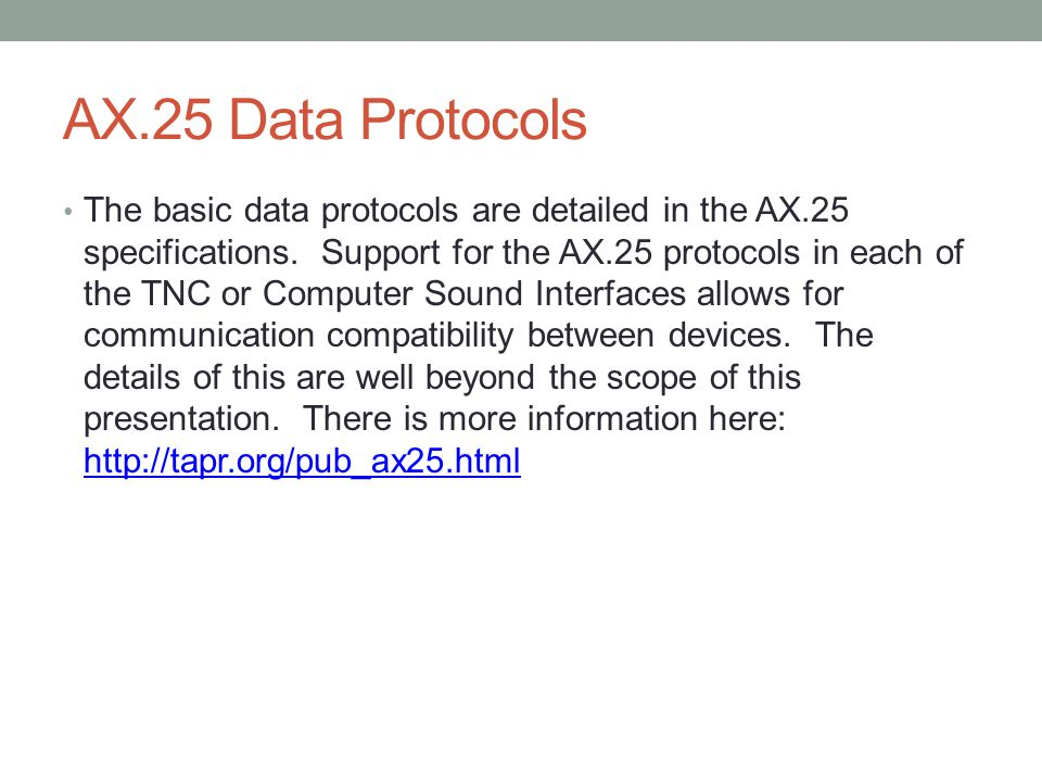 AX.25 Data Protocols