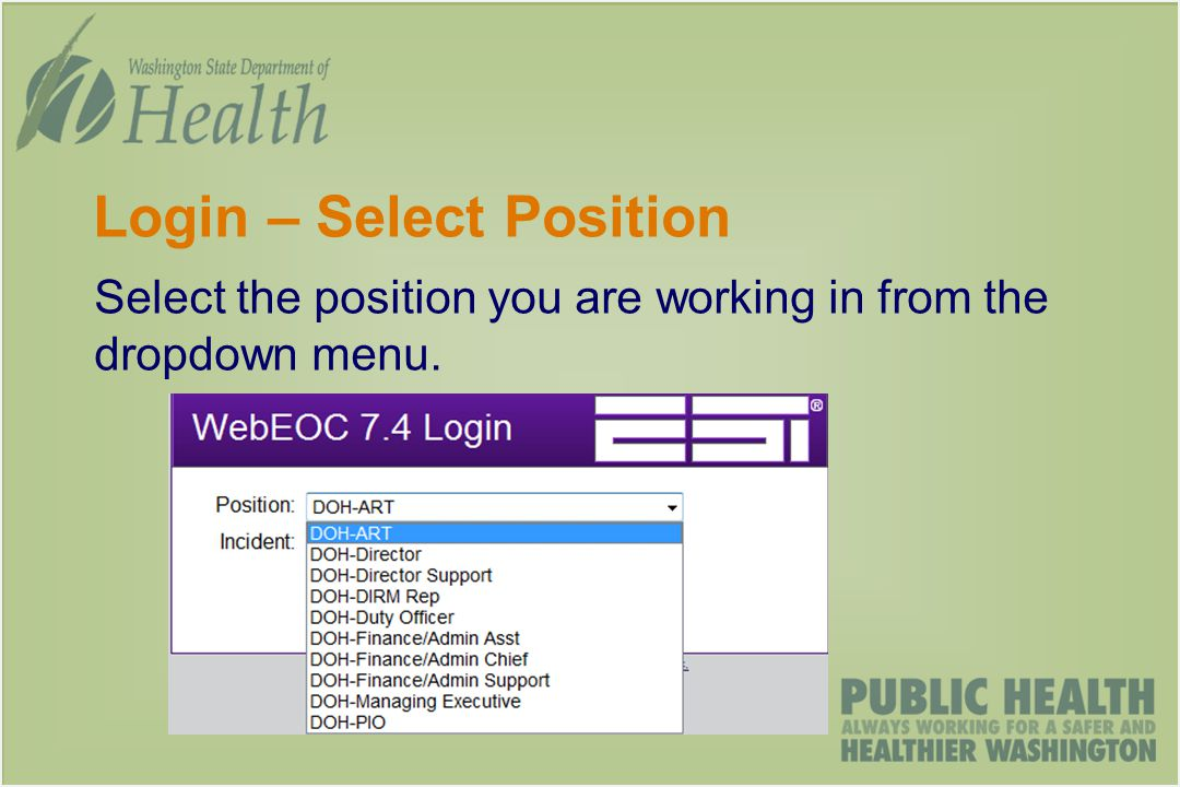 Login – Select Position