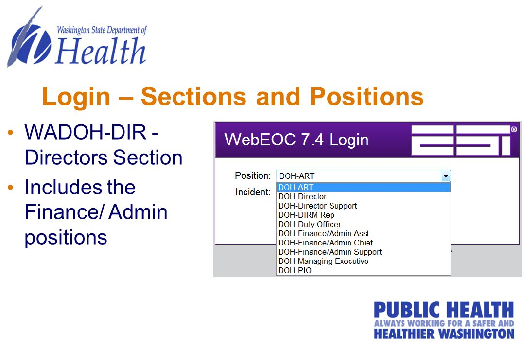 Login – Sections and Positions