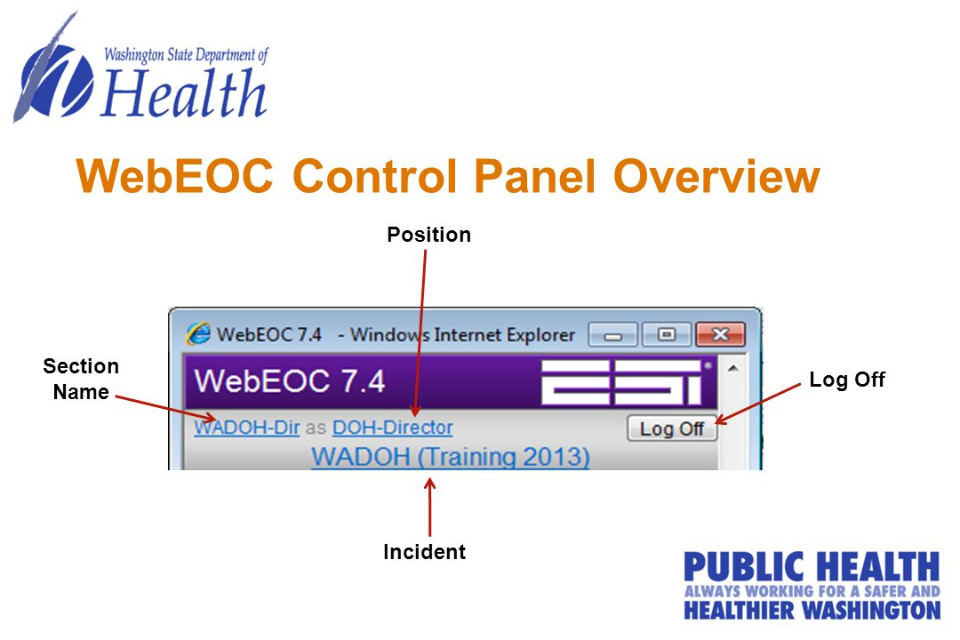 WebEOC Control Panel Overview