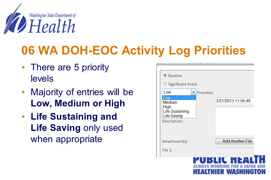 06 WA DOH-EOC Activity Log Priorities