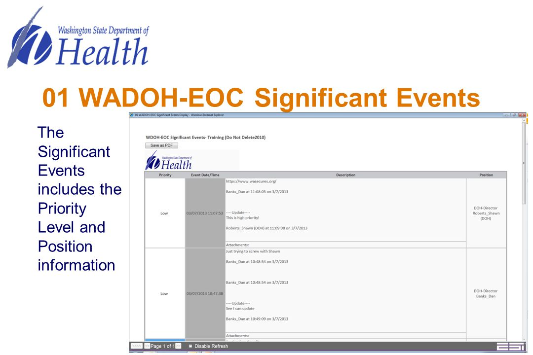 01 WADOH-EOC Significant Events