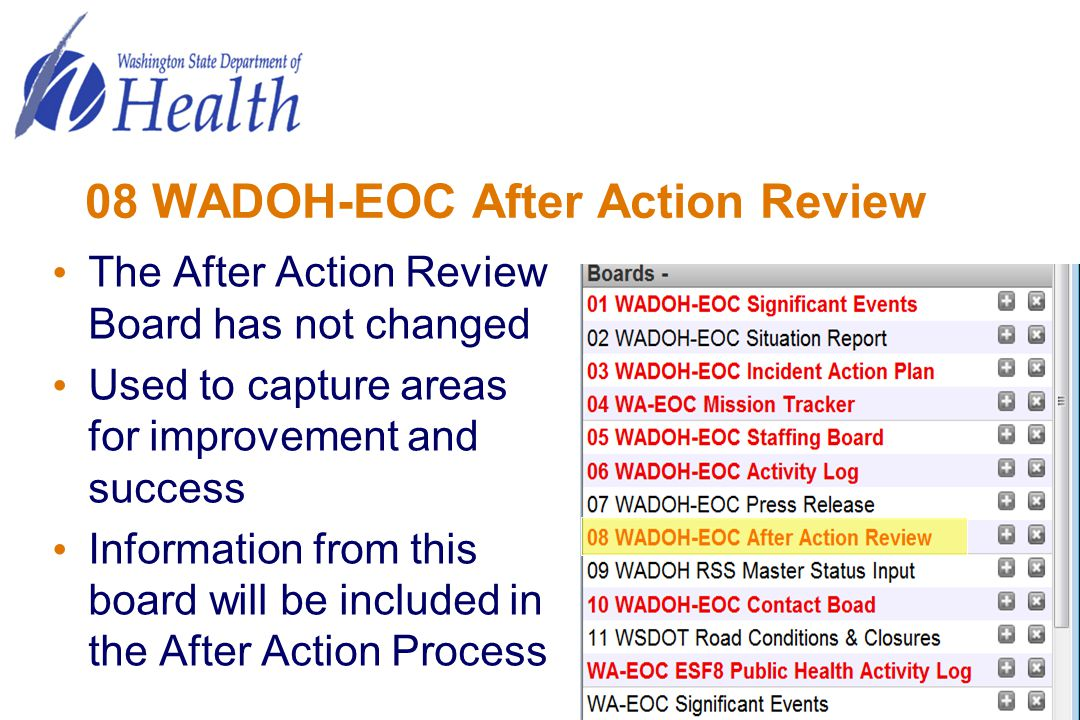 08 WADOH-EOC After Action Review
