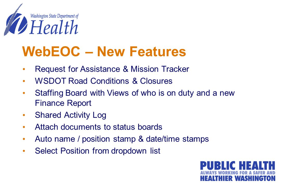 WebEOC – New Features Request for Assistance & Mission Tracker