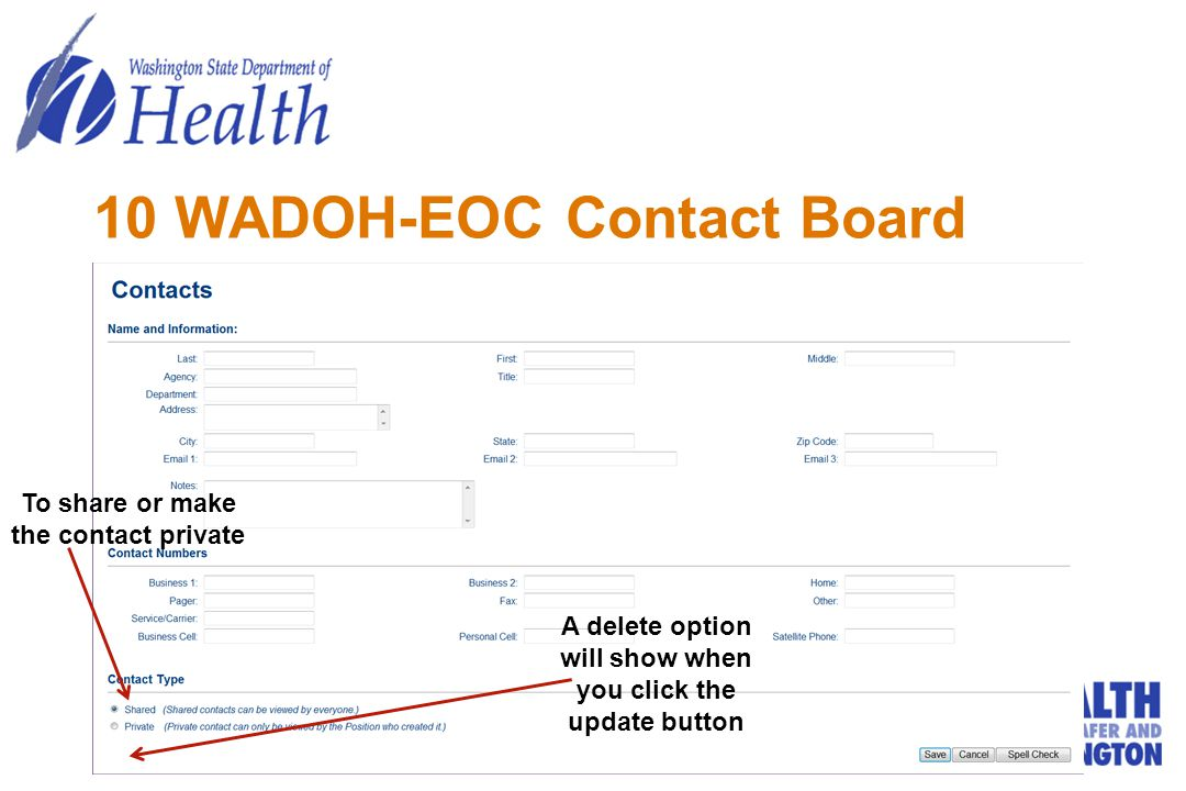 10 WADOH-EOC Contact Board