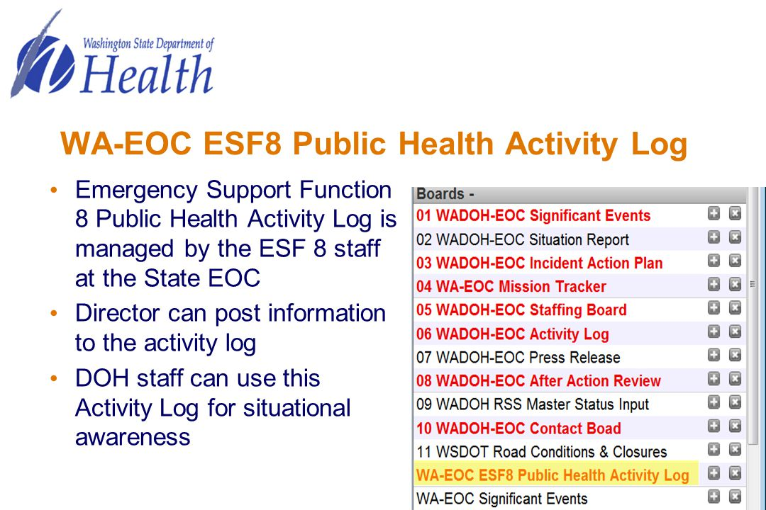 WA-EOC ESF8 Public Health Activity Log