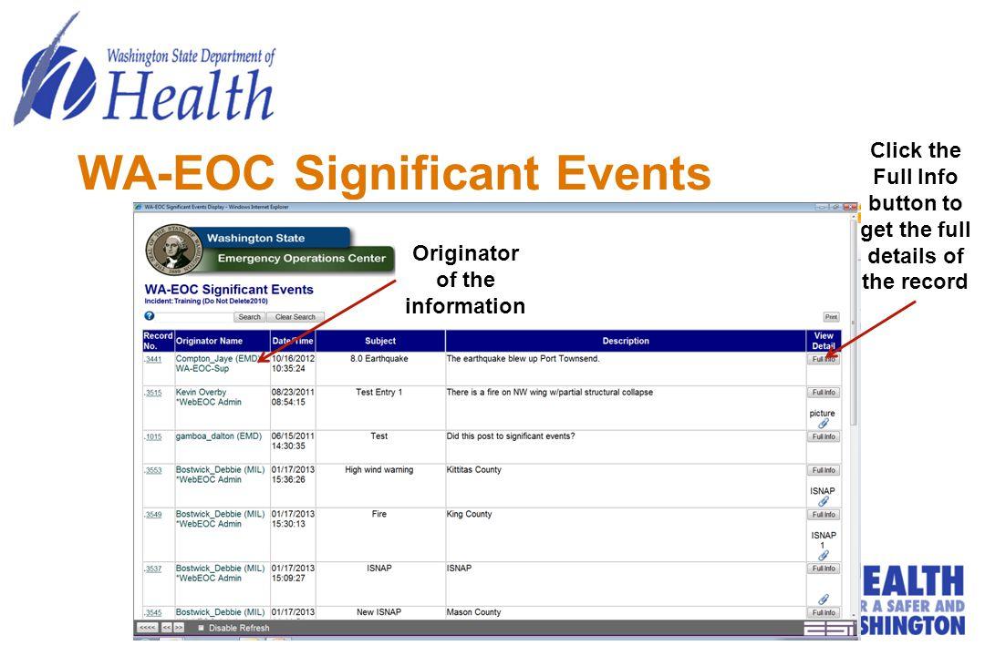 WA-EOC Significant Events