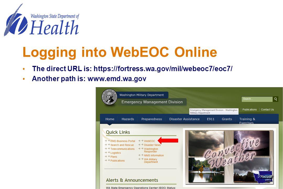 Logging into WebEOC Online