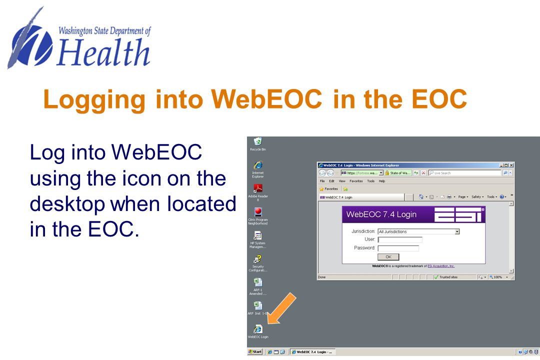 Logging into WebEOC in the EOC