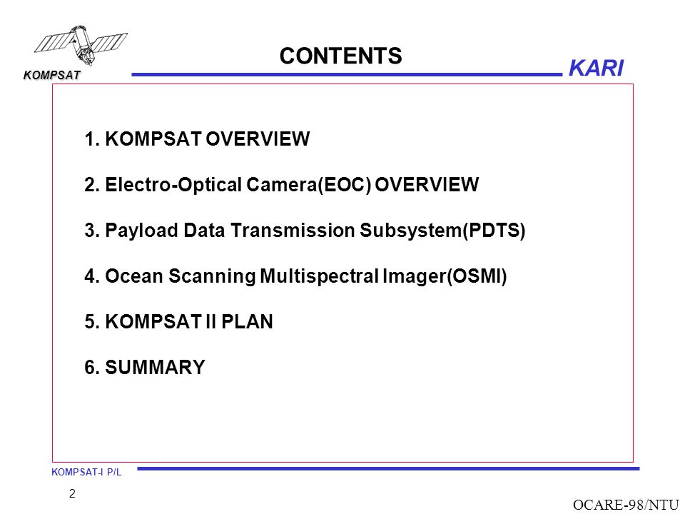 CONTENTS 1. KOMPSAT OVERVIEW 2. Electro-Optical Camera(EOC) OVERVIEW