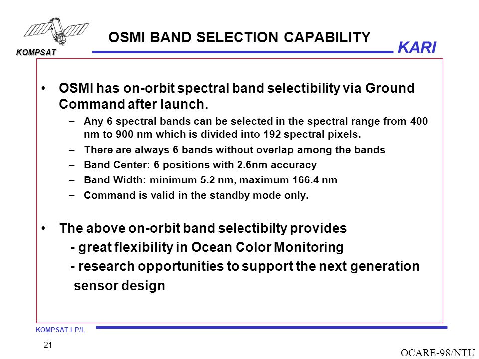 OSMI BAND SELECTION CAPABILITY