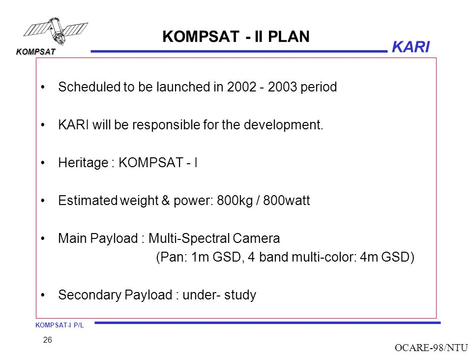 KOMPSAT - II PLAN Scheduled to be launched in 2002 - 2003 period