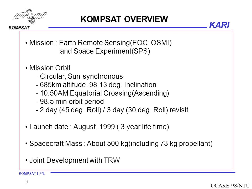 KOMPSAT OVERVIEW Mission : Earth Remote Sensing(EOC, OSMI)