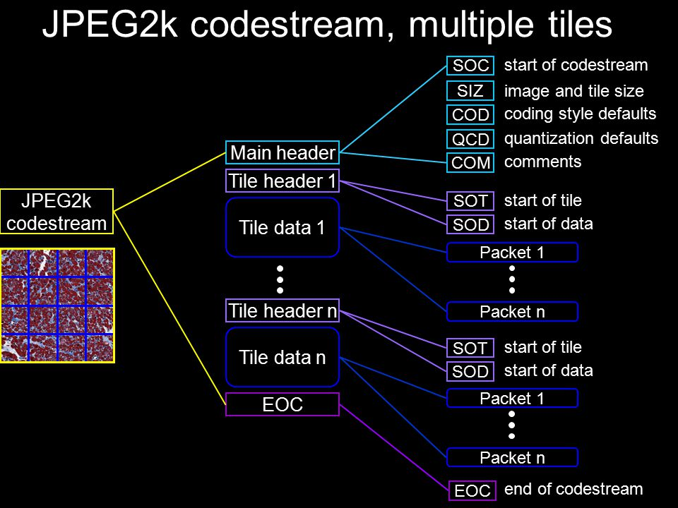 JPEG2k codestream, multiple tiles