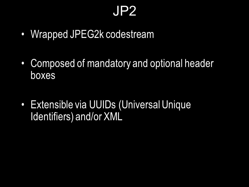 JP2 Wrapped JPEG2k codestream