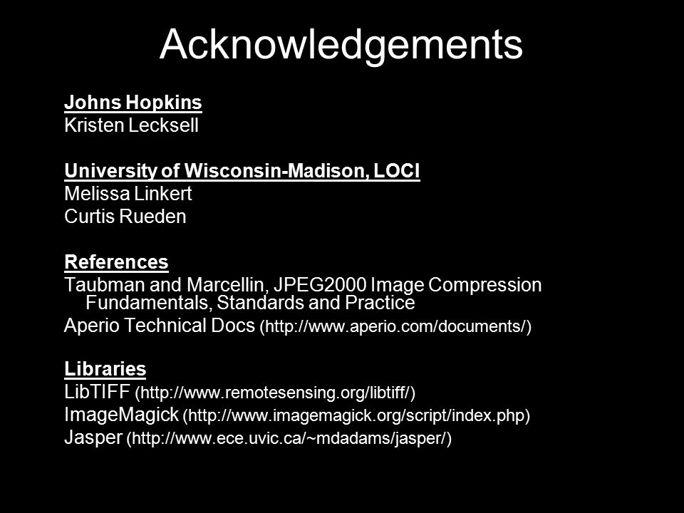 Acknowledgements Johns Hopkins Kristen Lecksell
