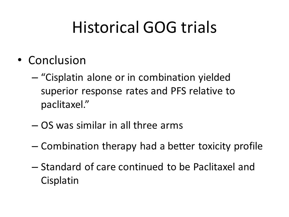 Historical GOG trials Conclusion