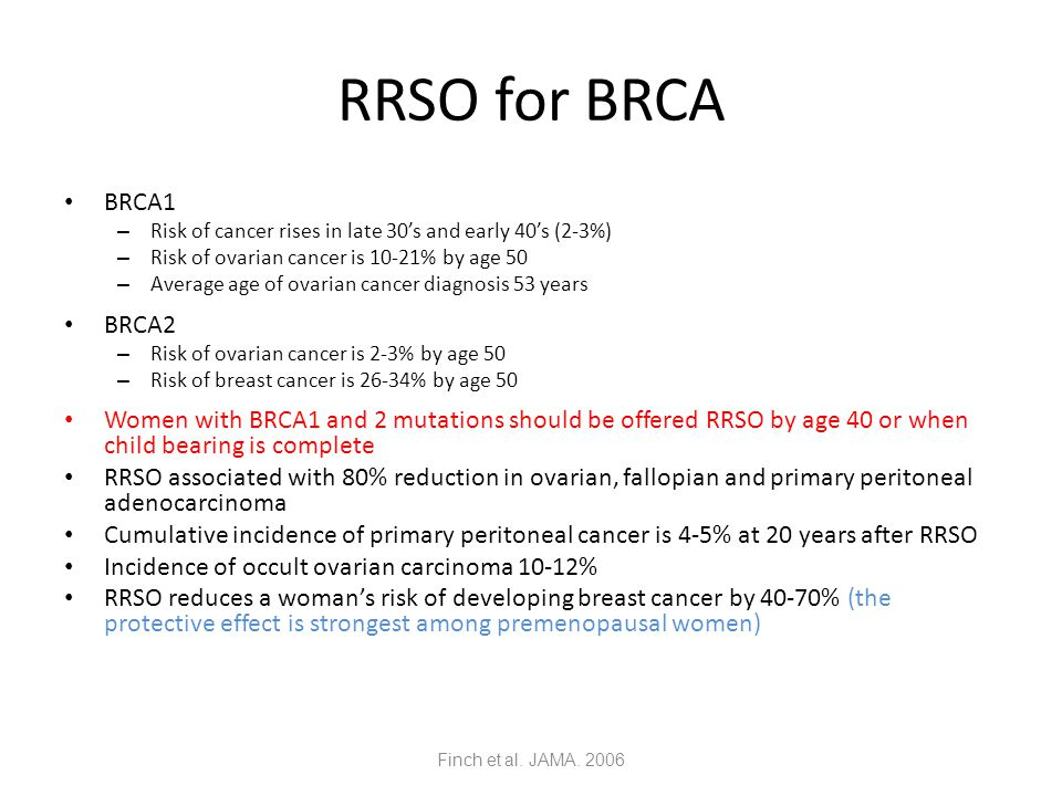 RRSO for BRCA BRCA1. Risk of cancer rises in late 30's and early 40's (2-3%) Risk of ovarian cancer is 10-21% by age 50.