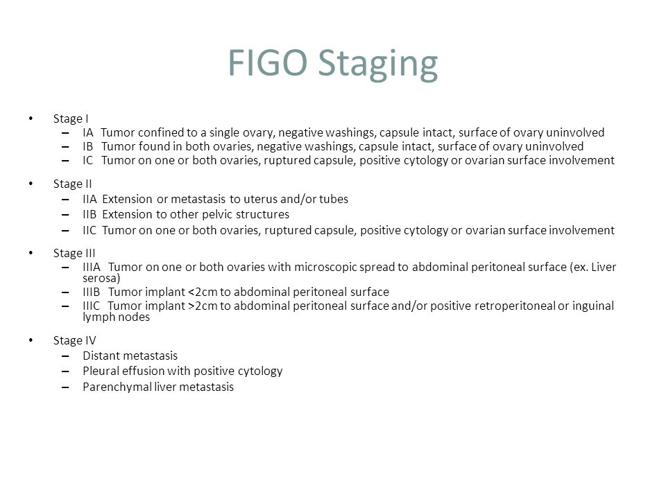 FIGO Staging Stage I. IA Tumor confined to a single ovary, negative washings, capsule intact, surface of ovary uninvolved.