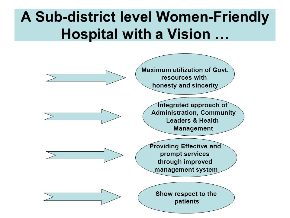 A Sub-district level Women-Friendly Hospital with a Vision …