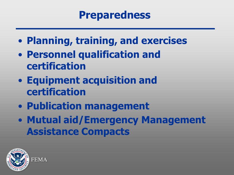 Preparedness Planning, training, and exercises