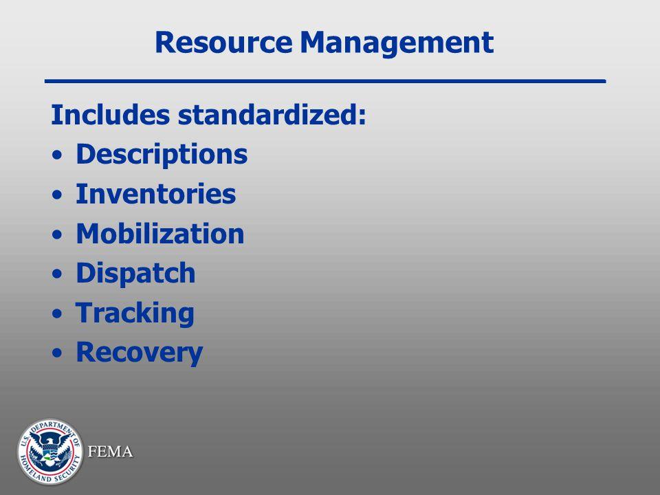 Resource Management Includes standardized: Descriptions Inventories