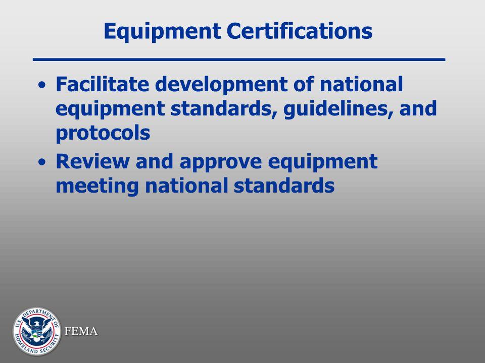 Equipment Certifications