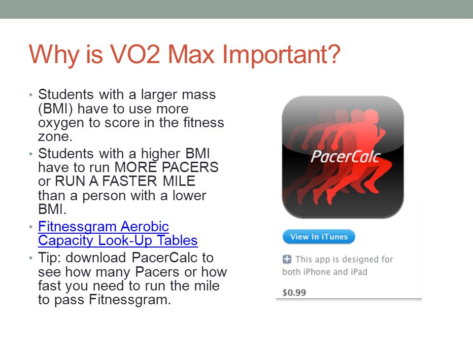 Why is VO2 Max Important Students with a larger mass (BMI) have to use more oxygen to score in the fitness zone.