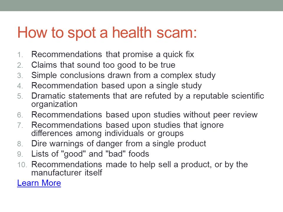 How to spot a health scam: