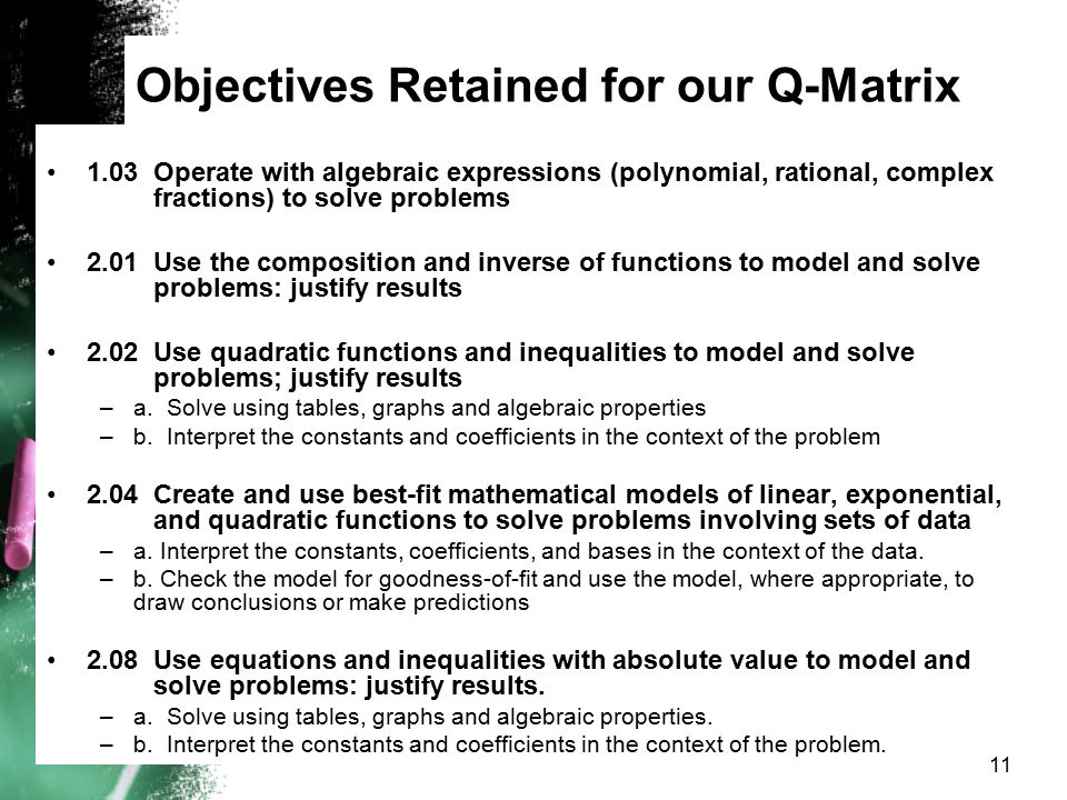 Objectives Retained for our Q-Matrix