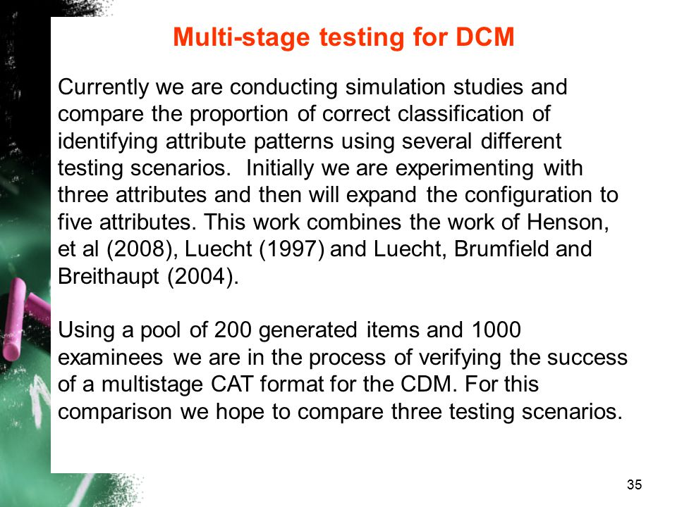 Multi-stage testing for DCM