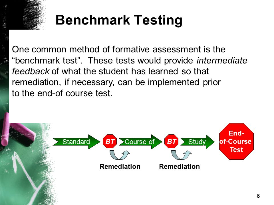 Benchmark Testing One common method of formative assessment is the