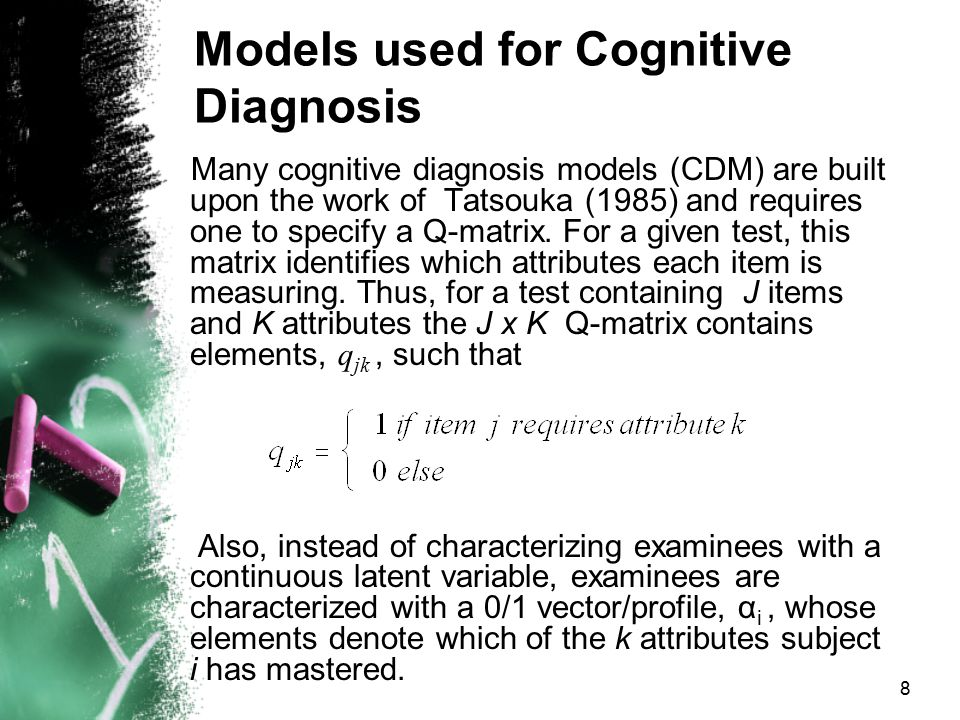 Models used for Cognitive Diagnosis