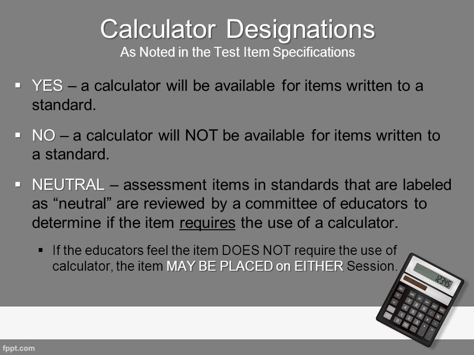 Calculator Designations As Noted in the Test Item Specifications