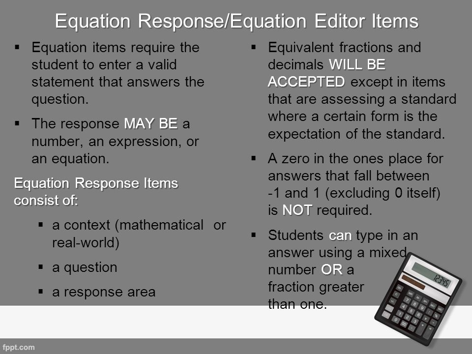 Equation Response/Equation Editor Items