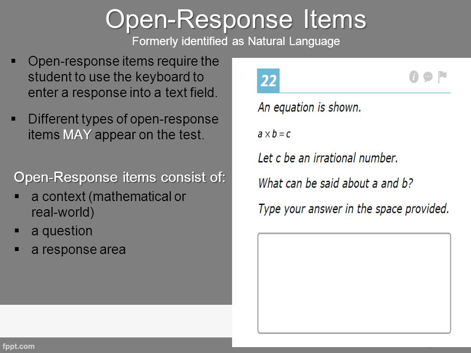 Open-Response Items Formerly identified as Natural Language