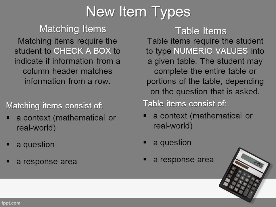 New Item Types Matching Items Table Items