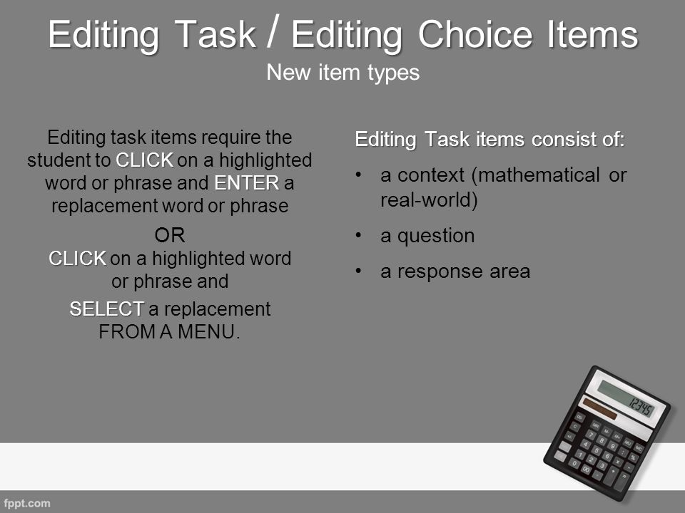 Editing Task / Editing Choice Items New item types