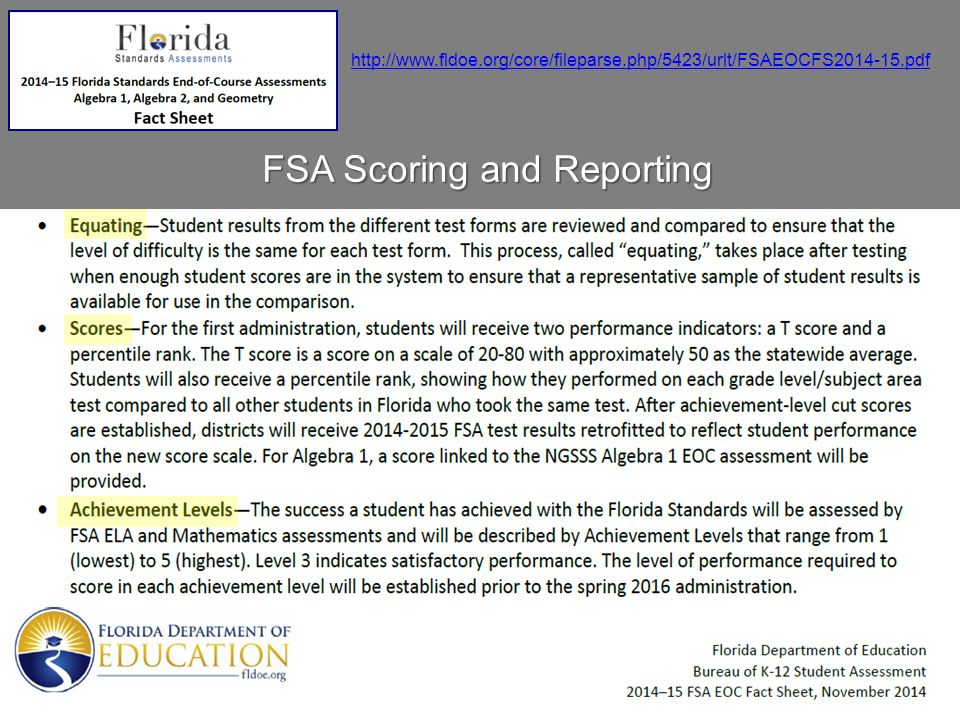 FSA Scoring and Reporting
