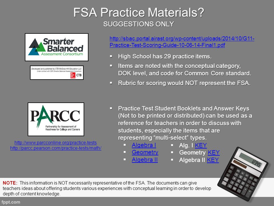 FSA Practice Materials SUGGESTIONS ONLY