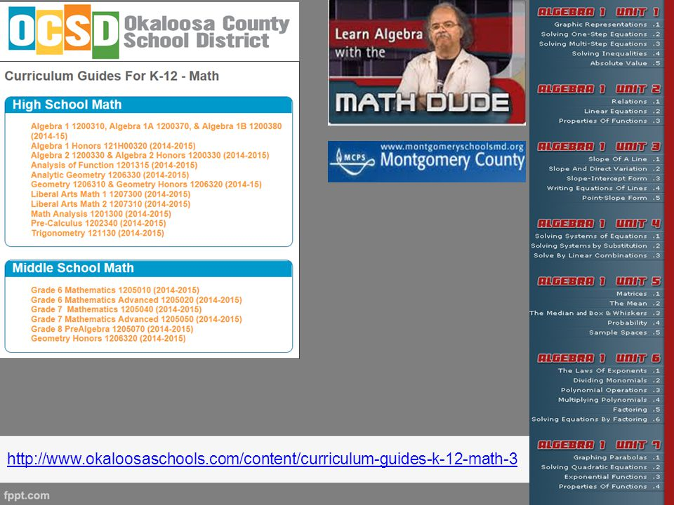 Great resources hyperlinked within the grade-level/course curriculum map documents that are found on Okaloosa County's math page.