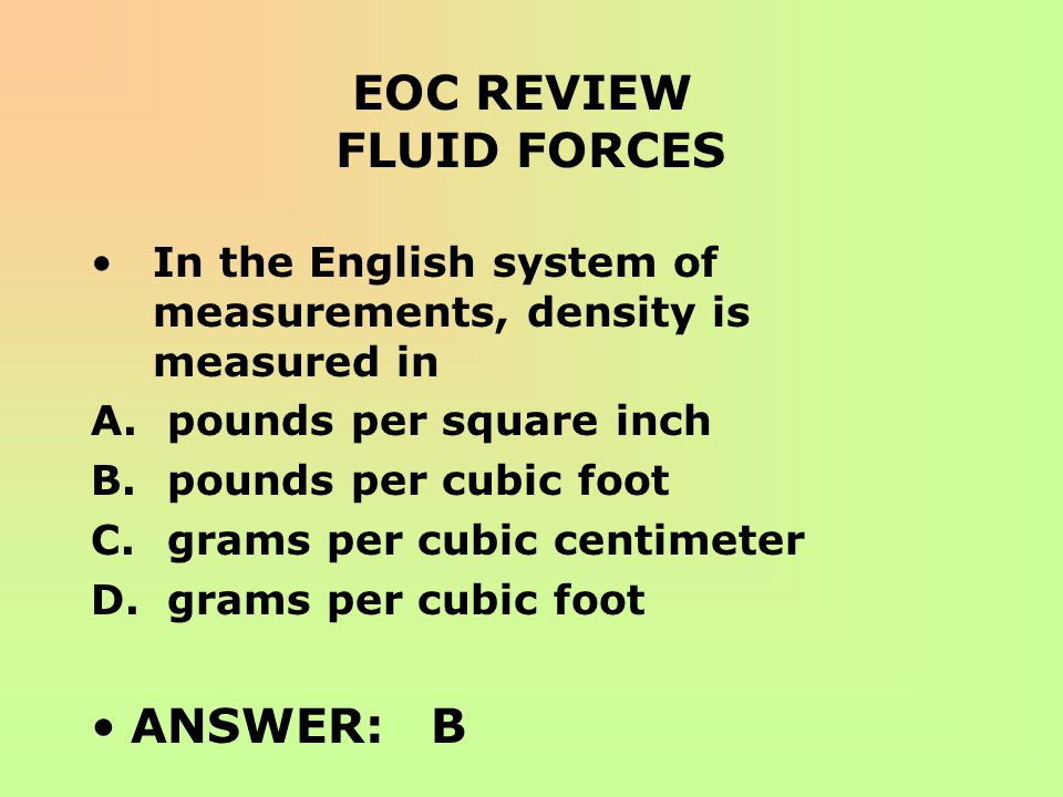 EOC REVIEW FLUID FORCES