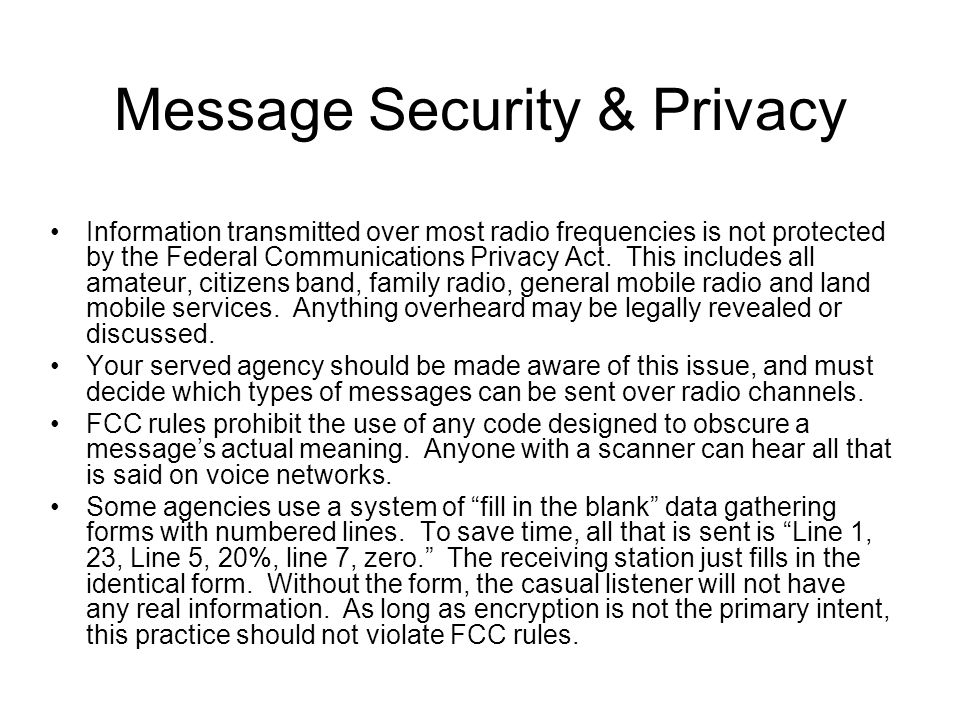 Message Security & Privacy