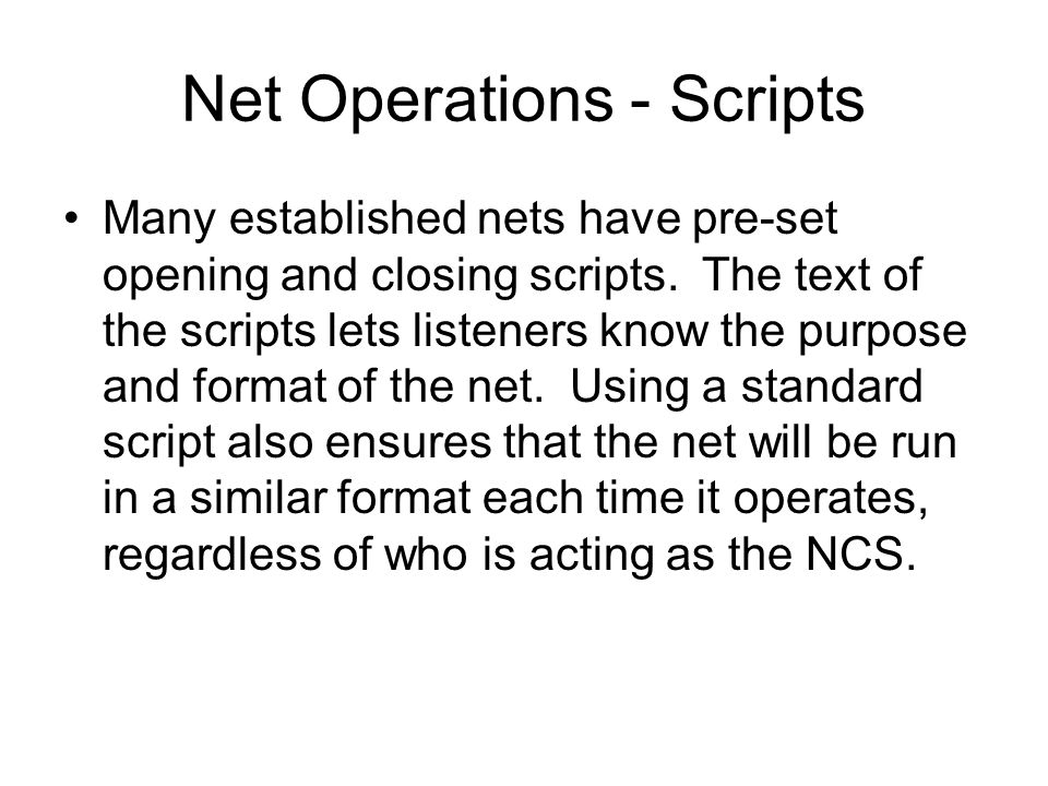 Net Operations - Scripts