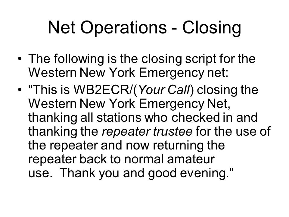 Net Operations - Closing