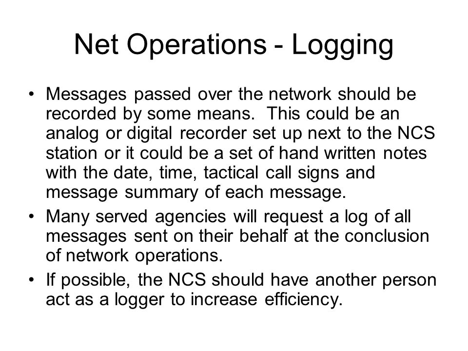 Net Operations - Logging