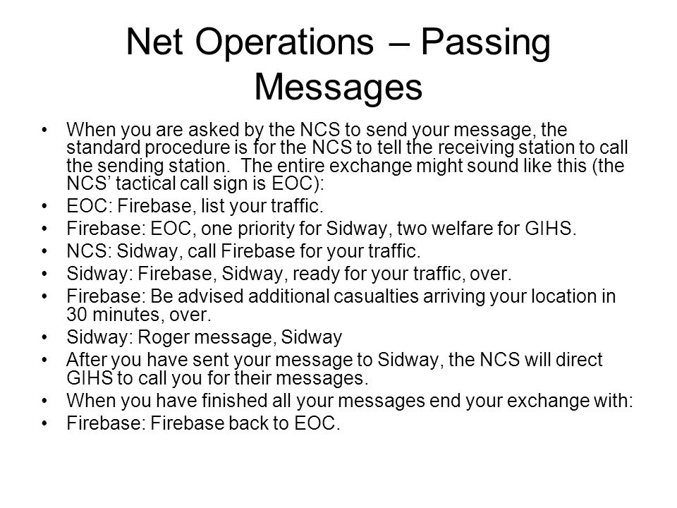 Net Operations – Passing Messages