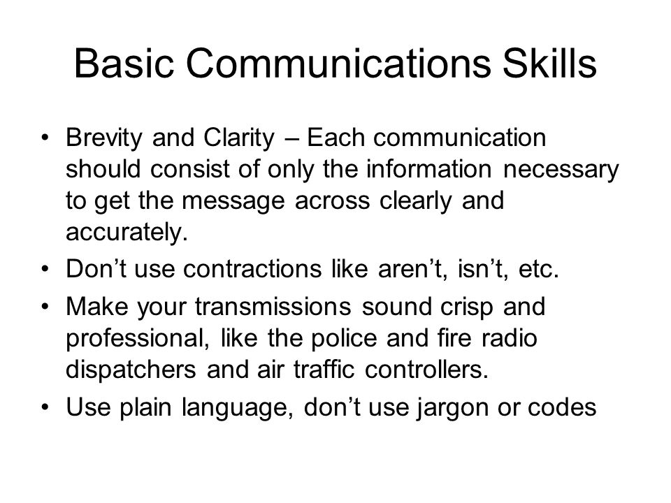 Basic Communications Skills