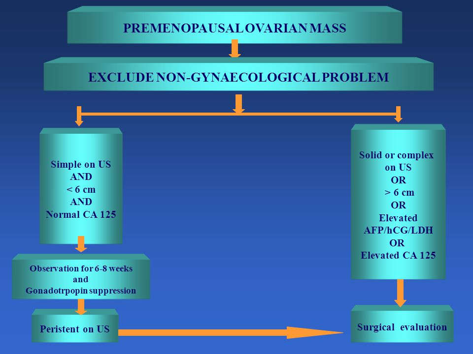 PREMENOPAUSAL OVARIAN MASS EXCLUDE NON-GYNAECOLOGICAL PROBLEM